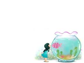 卡通女孩鱼缸幼儿小学教育教学课件动画PPT商务模板
