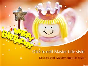 橙色可爱女孩生日策划动画PPT动态模板简洁