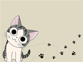 卡爱猫咪儿童成长教育教学课件动画PPT模板